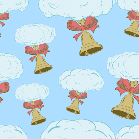hand bells: Seamless texture with clouds with school hand bells
