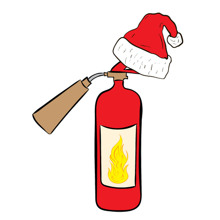 christmas cap: Conceptual illustration with the fire extinguisher in the Christmas cap