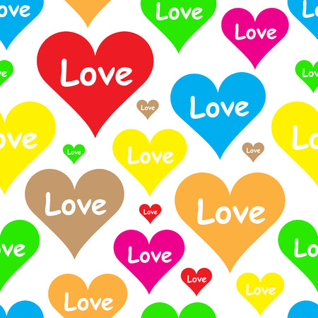 st  valentine's: Seamless texture with color hearts St. Valentines Day
