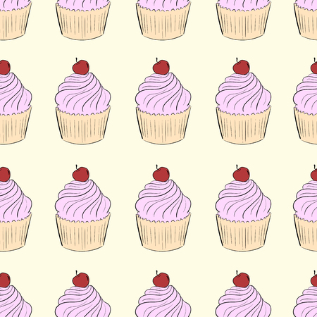 creatively: Seamless texture with color cake with cherry