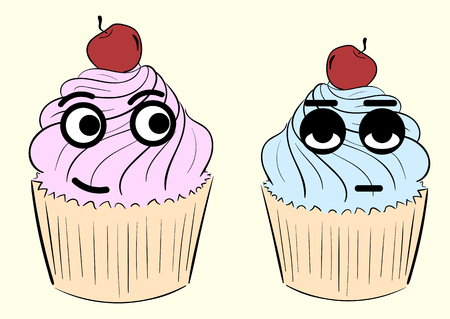 emotional: Conceptual color emotional cherry cakes with eyes Illustration