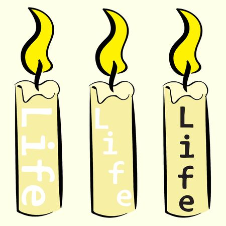 thawing: Conceptual classical candles with an inscription life Illustration