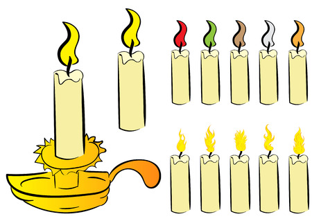 thawing: Clipart with various color candles with fire