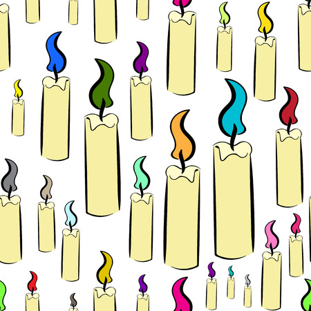 creatively: Seamless texture with candles with color fire