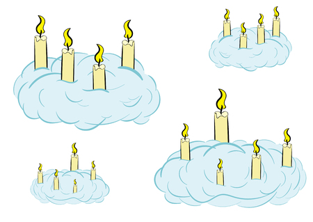 Conceptual illustration with the burning candles in clouds
