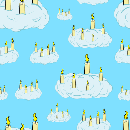 Seamless texture with the burning candles in clouds