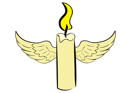 winged: Conceptual illustration with the winged lit candle