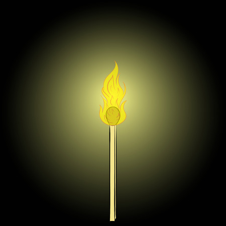 thawing: Conceptual illustration with the burning match in the dark Illustration