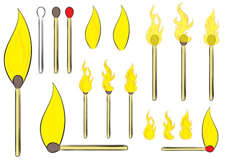 thawing: Clipart with various matches and fires of different forms