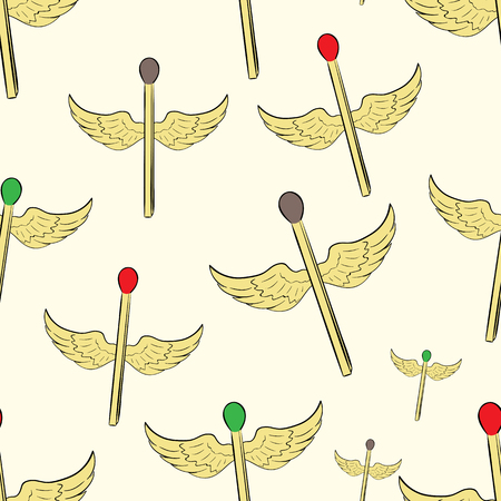 winged: Seamless texture with the winged flying matchsticks