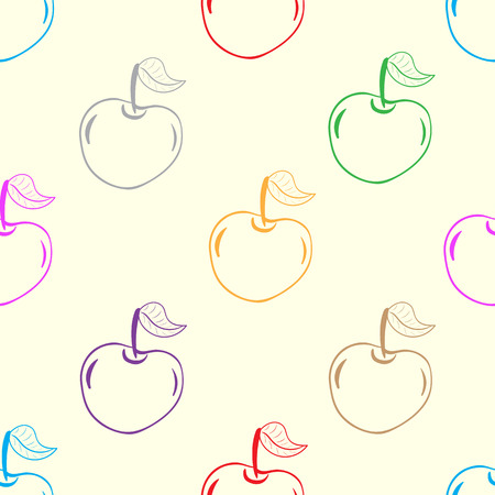 contours: Seamless texture with multi-colored contours of cherries