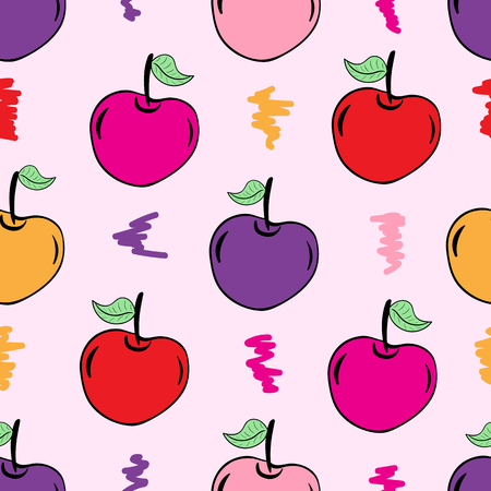 multicolored: Seamless texture with multi-colored berries cherries and curls Illustration