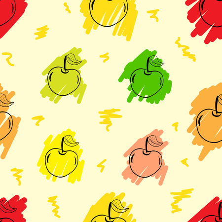 contours: Seamless texture with the painted contours of apples
