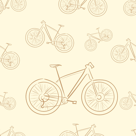 a two wheeled vehicle: Seamless texture with brown contours of bicycles