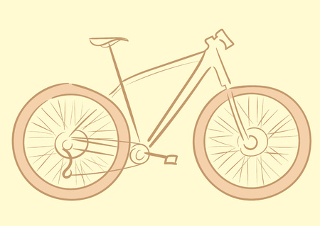 a two wheeled vehicle: Illustration with a brown contour of the sports bicycle