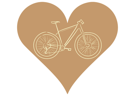 a two wheeled vehicle: Illustration with a brown contour of the sports bicycle in heart