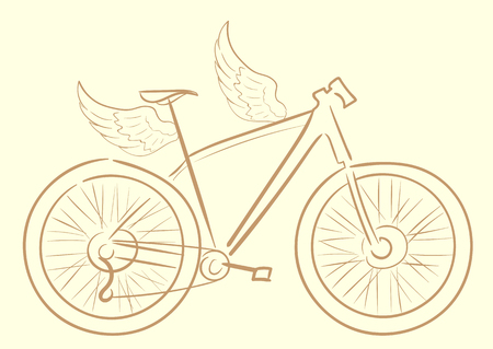 a two wheeled vehicle: Conceptual illustration with a contour of the brown sports bicycle Illustration