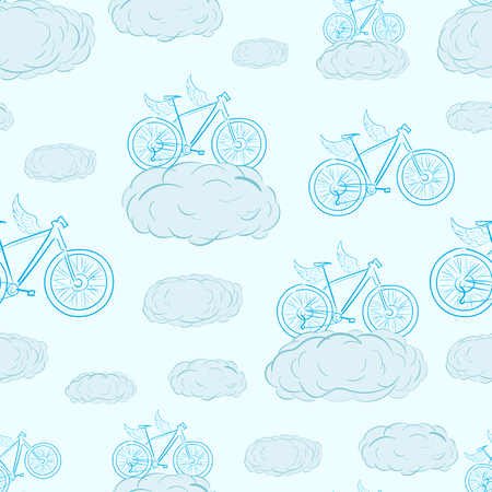 a two wheeled vehicle: Seamless texture with conceptual winged bicycles in clouds