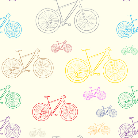a two wheeled vehicle: Seamless texture with color contours of bicycles Illustration