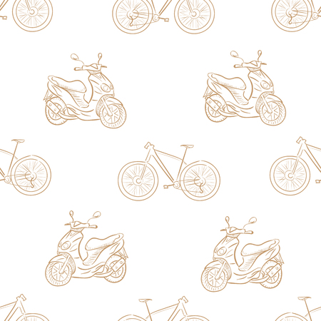 a two wheeled vehicle: Seamless texture with brown contours of bicycles and scooters