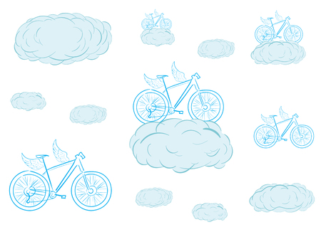 creatively: Conceptual illustration with winged bicycles in clouds