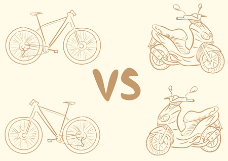 a two wheeled vehicle: Conceptual illustration with contours of the scooter and bicycle Illustration