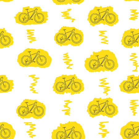 contours: Seamless texture with yellow contours of bicycles