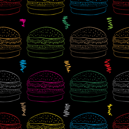 contours: Seamless texture with color contours of hamburgers and curves