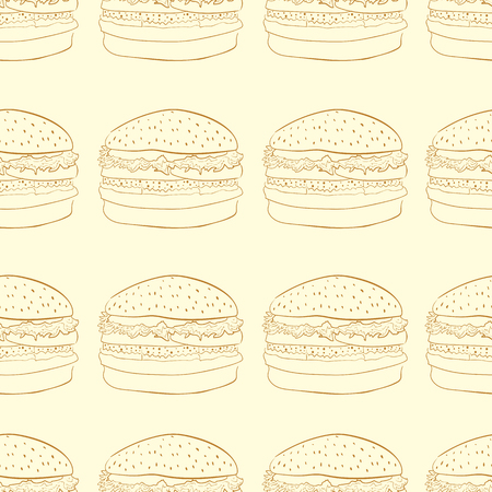 contours: Seamless texture with brown contours of hamburgers
