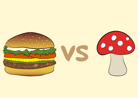 a fly agaric: Conceptual illustration with a hamburger and with a fly agaric