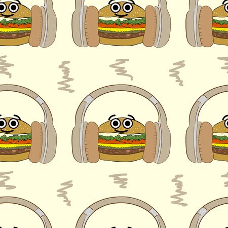 earphones: Seamless texture with burgers in musical earphones