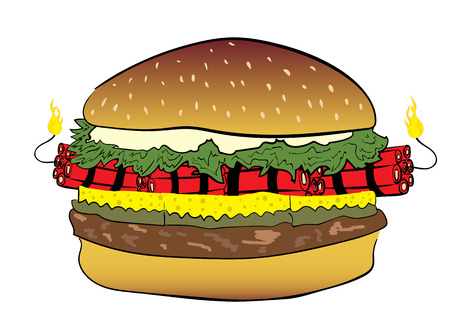 Conceptual illustration with a burger the filled dynamite