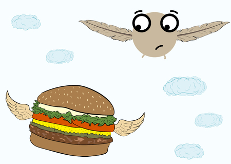 little bird: Conceptual illustration with the flying hamburger and a little bird Illustration