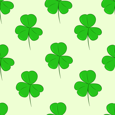 patrick backdrop: Seamless texture with identical forms of green shamrocks Illustration