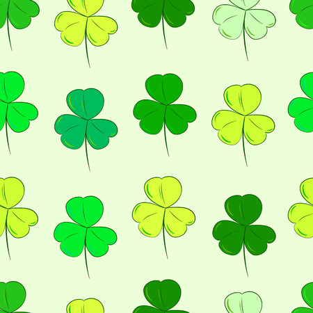 identical: Seamless texture with identical forms of green shamrocks Illustration