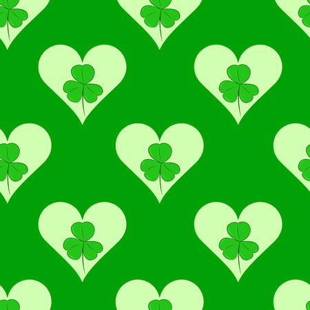 shamrock seamless: Seamless texture with a shamrock and hearts a St. Patricks Day Illustration