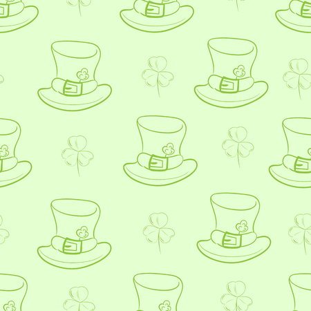 shamrock seamless: Seamless texture with a hat of a St. Patricks Day with a shamrock Illustration