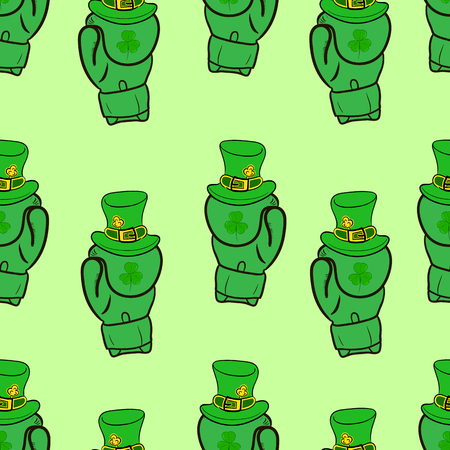 patrick backdrop: Seamless texture with boxing gloves and attributes of a St. Patricks Day Illustration