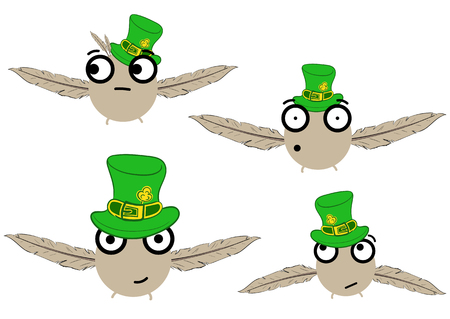 birdies: Collection with four abstract birdies in caps of a St. Patricks Day Illustration