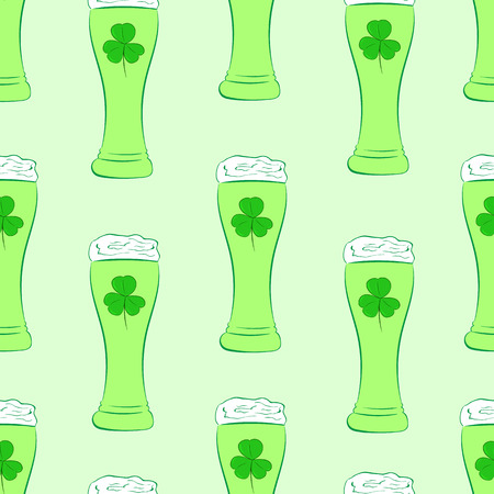 shamrock seamless: Seamless texture with beer in a green glass with a shamrock