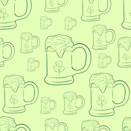 saint patrick: Seamless texture with festive beer of Saint Patrick Illustration