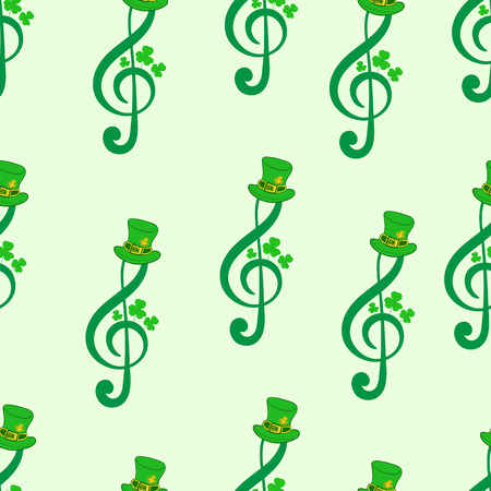 clover backdrop: Seamless texture with treble clefs by a St. Patricks Day Illustration