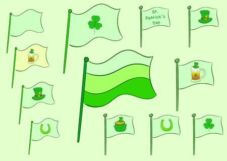 solemn: Clipart with green flags of a St. Patricks Day