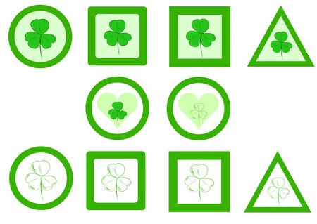 shamrocks: Green signs with shamrocks of different forms Illustration