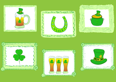 photoframe: Attributes of a St. Patricks Day in a picture photoframe Illustration