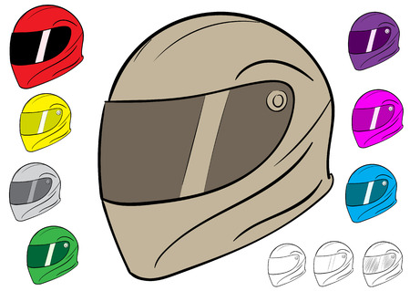 durability: Clipart with multi-colored sports classical crash helmets
