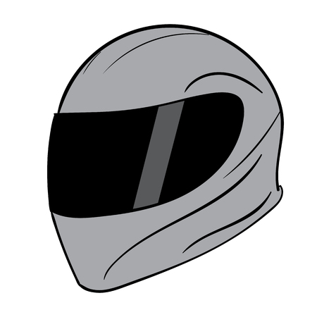 Gray sports classical strong reliable motorcycle helmet Vector Illustration