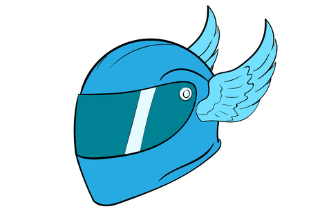 crash helmet: Conceptual illustration with a blue winged sports crash helmet