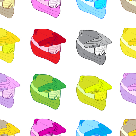 crash helmet: Seamless texture with color crash helmets against a white background Illustration