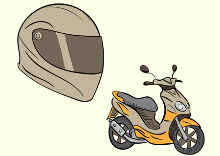 a two wheeled vehicle: Conceptual illustration with a motorcycle helmet and the scooter